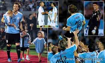 Diego Forlan bids farewell as he plays final match alongside golfer Sergio Garcia and Luis Suarez