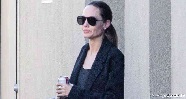 Angelina Jolie & Her Son Pax Stop By a Movie Studio in LA