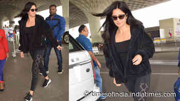 Katrina Kaif is the perfect 'black beauty' as she gets papped at airport