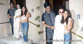 Janhvi Kapoor and Rekha hug each other as they pay a visit to designer Manish Malhotra