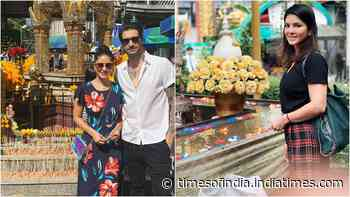 Sunny Leone and Daniel Weber offer prayers at a temple in Thailand