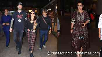 Sunny Leone with husband Daniel Weber, Vidya Balan get clicked at Mumbai airport