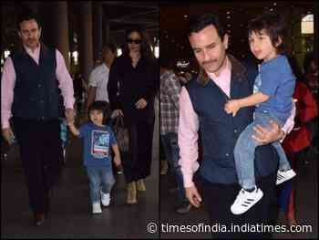 Pics: Kareena, Saif & Taimur are back in town