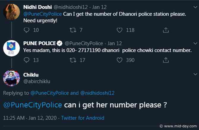 Man asks for woman's number on Twitter, gets savage reply from Pune police