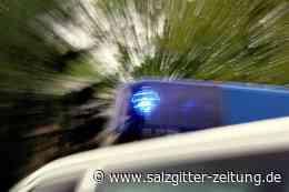Mann will in Lebenstedt Shop-Tür mit Gullydeckel einschlagen