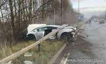 Manchester United goalkeeper Sergio Romero escapes unharmed after crashing his Lamborghini