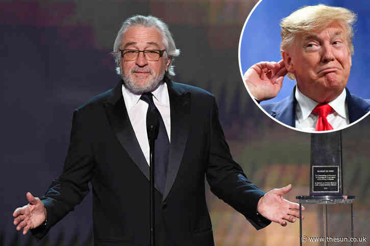 Trump-obsessed Robert De Niro slams president's 'abuse of power' in front of Hollywood luvvies as he collects award