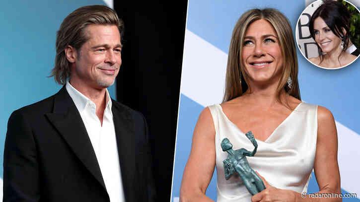 Friend-Approved! Courteney Cox Likes Social Media Posts About Brad Pitt & Jennifer Aniston's SAG Reunion