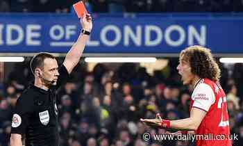 Lampard is vindicated in his decision to dispense of David Luiz after the Arsenal man is SENT OFF