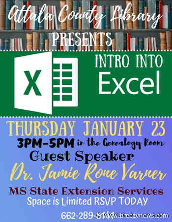 Happening today: Attala County Library offering Intro to Excel computer class