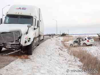 Crash between minivan and transport truck on Highway 3 results in critical injuries