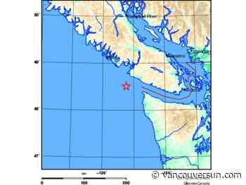 Earthquake off B.C. coast Friday felt as far inland as Vancouver