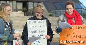 Anti-war protesters gather at University of Lethbridge