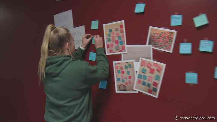 Supportive Sticky Notes Line Golden High School Hallway After Call For Help