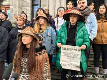 Indigenous youth chant 'stand up, fight back' at B.C. anti-pipeline protest