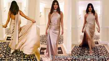 Priyanka Chopra flaunts her svelte body in beautiful satin gown as she attends pre Grammys Gala night