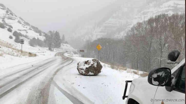 Boulder Blocks Highway 145 In San Miguel County