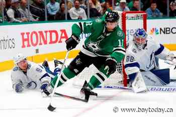 Benn's 2nd goal in OT pushes Dallas Stars past Lightning 3-2