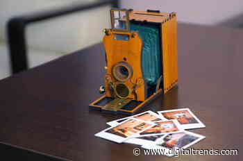 This classic bellows camera recharges with phone cord and spits out Instax film