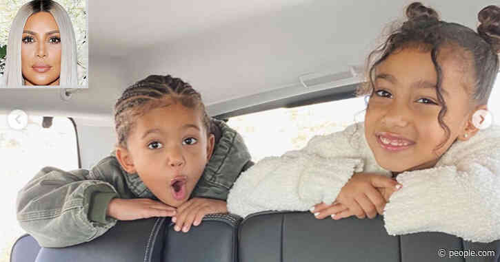 Kim Kardashian Shares Playful Pics of Son Saint and Daughter North and Says 'They Get Along Now'