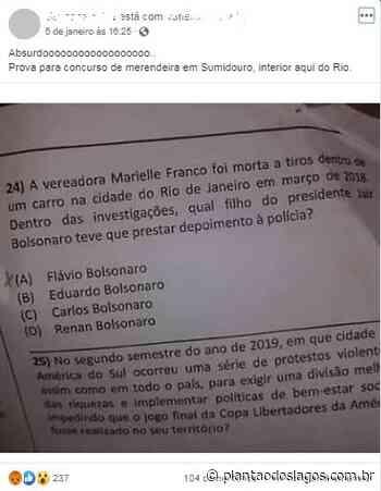 Concurso em Sumidouro faz questões sobre filho de Bolsonaro, partido do prefeito e cargo de Witzel - Plantao dos Lagos