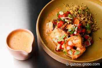 Peixes, Camarões e Palmitos Grelhados, Farofa de Castanha com Farinha de Milho e Molho de Camarão do Dudu Poerner - gshow