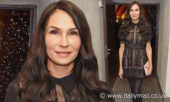 Famke Janssen, 55, shows off her remarkably smooth visage as she dons mini dress at musical - Daily Mail