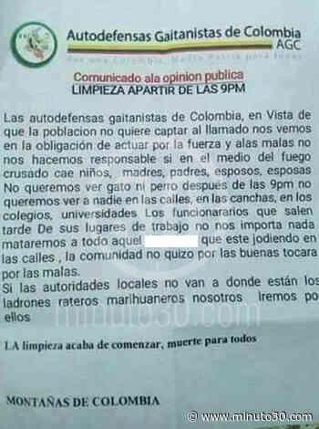 FOTO: Con panfletos, 'Autodefensas Gaitanistas' amenazan con hacer 'limpieza social̵ ... - Minuto30.com