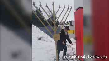 """Rabbi in Ste-Agathe fears """"an act of vandalism"""" after outdoor menorah's wire is cut - CTV News"""