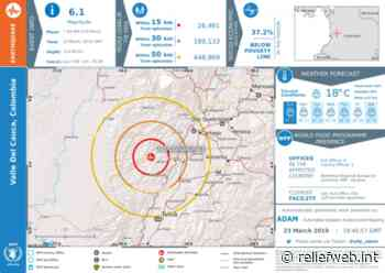 Earthquake in Valle Del Cauca, Colombia. 7km NW of El Dovio. Magnitude: 6.1 Depth: 113.28 (23 March 2019) - Colombia - ReliefWeb