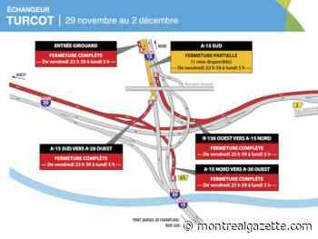 Weekend traffic update: westbound Ville-Marie, Highway 20 closed - Montreal Gazette
