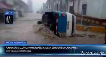 Cajamarca: Lluvias torrenciales en Cajabamba inundaron casas y arrastraron vehículos - Diario Perú21
