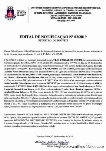 Santaluz – Cartório de Registro de Imóveis divulga Edital de Notificações nº 03/2019 - Calila Notícias