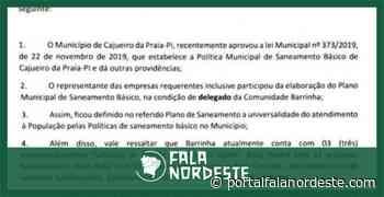 14/01/2020 Empresário Roberto Ziegert pede inclusão da Barrinha no projeto de Saneamento Básico da - Fala Nordeste