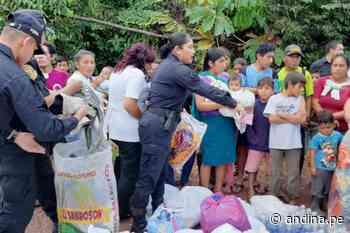 San Martín: Policía entrega ayuda a damnificados por inundaciones en Soritor - Agencia Andina
