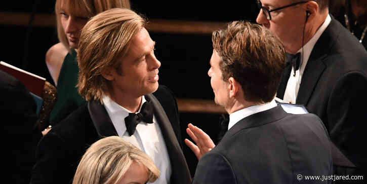Brad Pitt & Bradley Cooper Catch Up Inside The Oscars