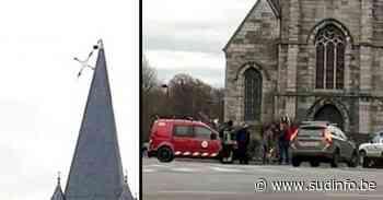 Tempête Ciara: à Pecq, le croix de l'église menace de tomber, les pompiers sur place! - Sudinfo.be