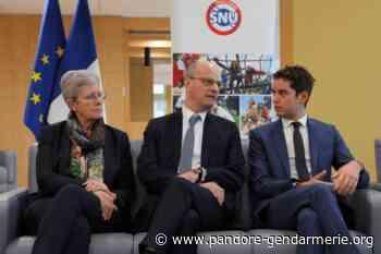 Jean-Michel Blanquer à Polytechnique de Palaiseau (Essonne) pour le lancement de la campagne de recrutement des 30.000 jeunes volontaires du SNU - Le Pandore et la Gendarmerie