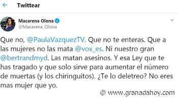 Macarena Olona (Vox) y Paula Vázquez, polémica en las redes por la violencia de género - Granada Hoy
