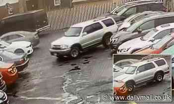 Hilarious moment driver smashes into two cars while maneuvering out of parking space