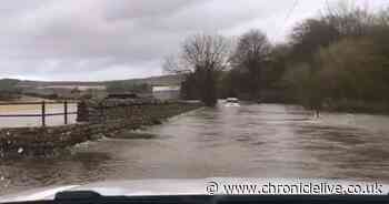 Terrifying plight of family trapped in their car by flood waters in Northumberland