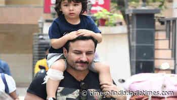 Injured Taimur Ali Khan takes a piggyback ride on dad Saif Ali Khan's back