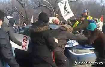 No charges after car drives through Wet'suwet'en supporters in Regina