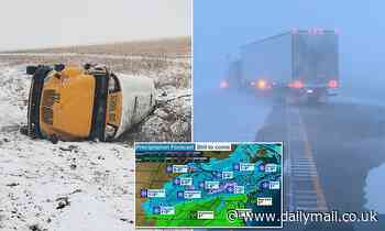 Kansas students injured after school bus slides off highway as Winter Storm Mabel batters Midwest