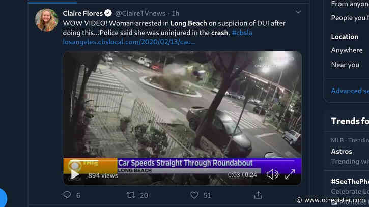 Video captures car going airborne in Long Beach after hitting traffic circle