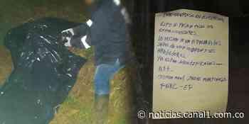Investigan asesinato de un hombre en Jamundí y panfleto junto al cuerpo - Canal 1