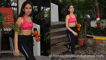 Mira Rajput papped in pink sports bra and black yoga pants post workout
