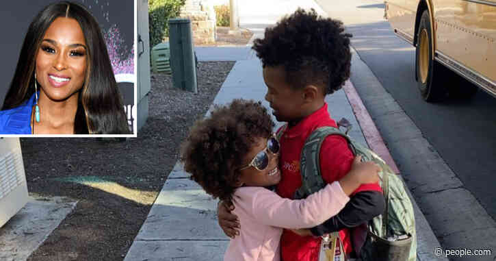 Pregnant Ciara's Son, 5½, and Daughter, 2½, Share Sweet Hug at Bus Stop on Valentine's Day