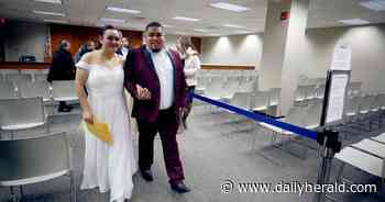 Weekly wedding day + Valentine's Day = busy session at DuPage courthouse