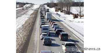 Collision involving 2 transports causes major traffic jam on Hwy. 401 east of Belleville